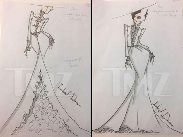 Vestidos desenhados por Inbal Dror para Meghan Markle (Foto: Reprodução/TMZ)