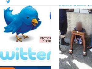 Homem foi preso a poste na Taquara, segundo a PM (Foto: Reprodução/ Twitter)