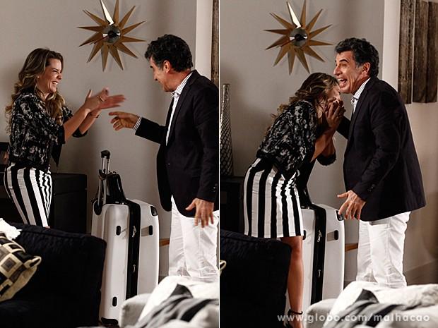 Fernanda Souza e Paulo Betti se divertiram durante a gravação (Foto: Malhação / TV Globo)