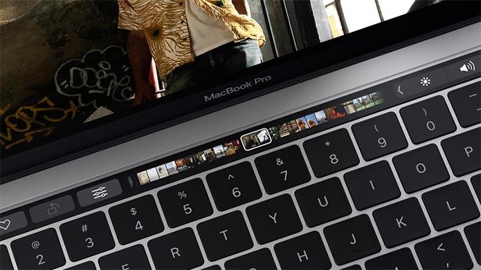 Touch Bar com sensor de impressão digital é a novidade do MacBook Pro (Foto: Divulgação/Apple)