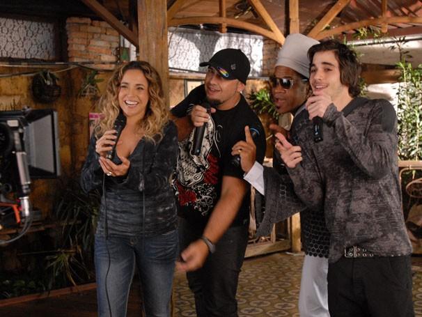 Daniela Mercury , Digão (Raimundos), Carlinhos Brown e Fiuk (Foto: TV Globo / Zé Paulo Cardeal)