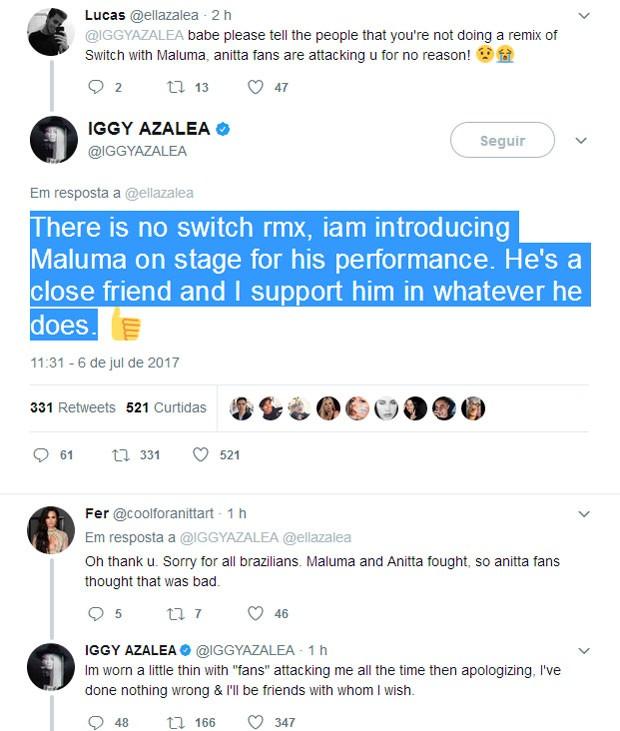 Iggy responde fã sobre parceria com Maluma e critica haters (Foto: Reprodução)