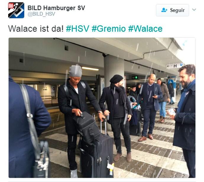 Walace desembarcou na Alemanha para assinar com o Hamburgo (Foto: Reprodução/Bild)