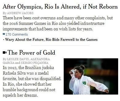 chamada matéria New York Times Rio 2016 (Foto: Reproduç;ão )