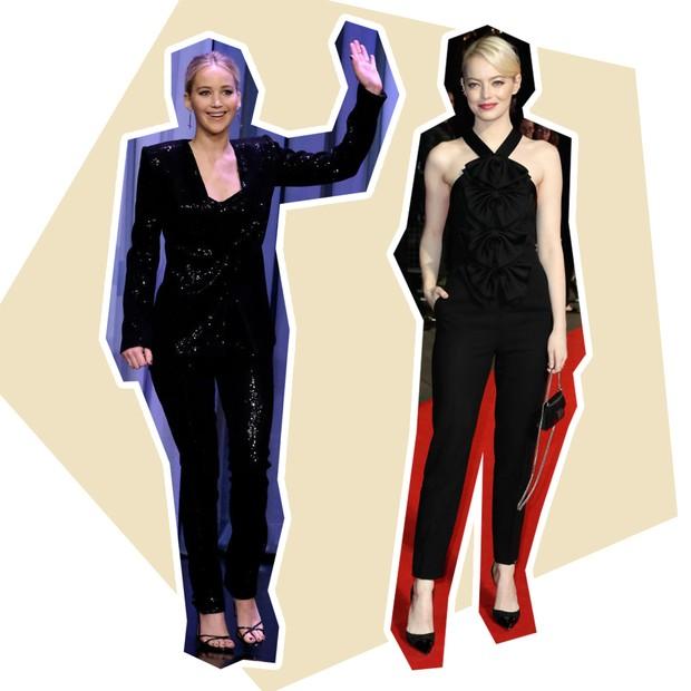 Calça: Jennifer Lawrence + Emma Stone (Foto: Reprodução e Getty)