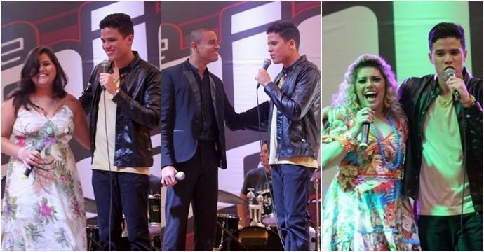 Anfitrião da noite, Marcos Lessa recebeu Débora, Romero e Aila no palco. (Foto: Luanna Gondim / TV Verdes Mares)