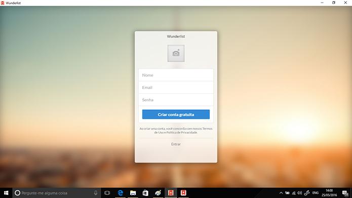 Insira email, senha e nome de usuário para criar conta no Wunderlist (Foto: Reprodução/Elson de Souza)