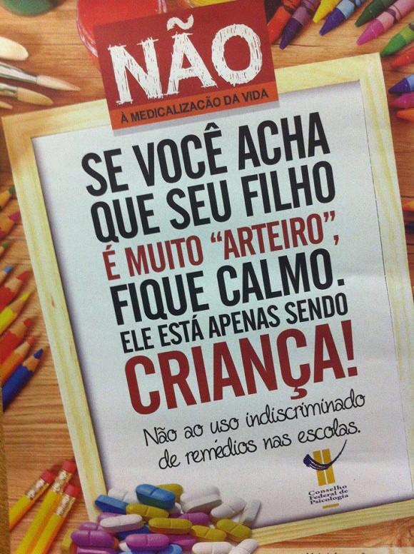 Medicalização campanha (Foto: Conselho Federal de Psicologia/Divulgação)