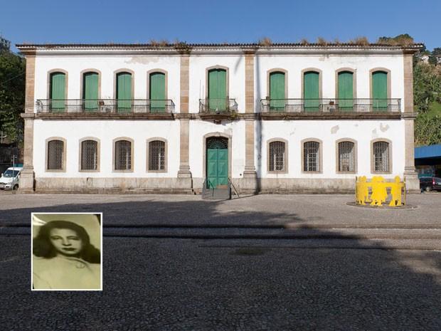 Casa de Câmara e Cadeia de Santos, na Praça dos Andradas, em Santos, e retrato de Pagu (destaque à esquerda) (Foto: Divulgação/Secretaria de Estado da Cultura de São Paulo/Reprodução TV Globo)