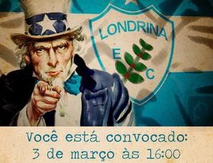 Tio Sam veste a roupa do Londrina e convoca a torcida (Foto: reprodução Facebook)