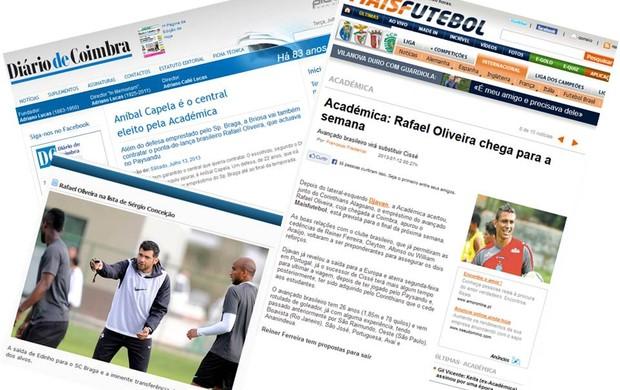 Jornais e sites portugueses anunciam contratação de Oliveira (Foto: Montagem/GLOBOESPORTE.COM)