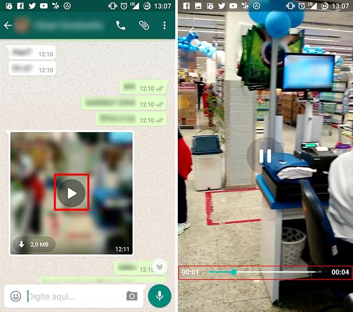 WhatsApp mostra vídeo em player próprio enquanto ainda faz o download (Foto: Reprodução/Elson de Souza)