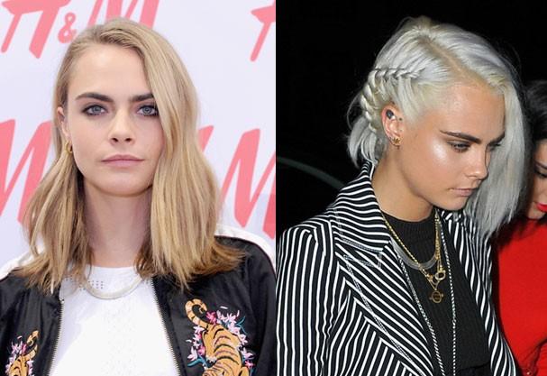 Antes e depois de Cara Delevingne (Foto: Getty Images / AKM-GSI)