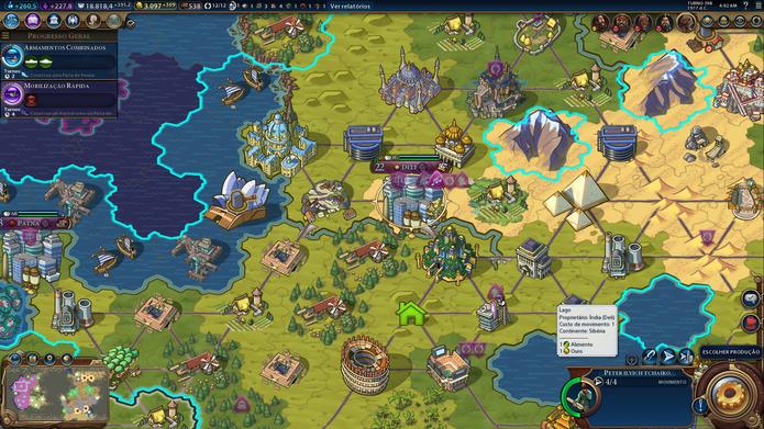 Visão estratégica de Civilization VI é bonita e ajuda na performance (Foto: Reprodução/Caio Fagundes)