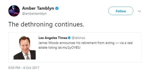 O destrono de Woods destacado no tuíte de Tamblyn (Foto: Reprodução/Twitter)
