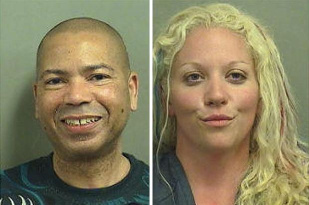 Ward Powell e Tanya E. Wheeler se 'animaram' após um banho de mar e foram presos por fazerem sexo em uma praia pública (Foto: Divulgação/Palm Beach County Jail)
