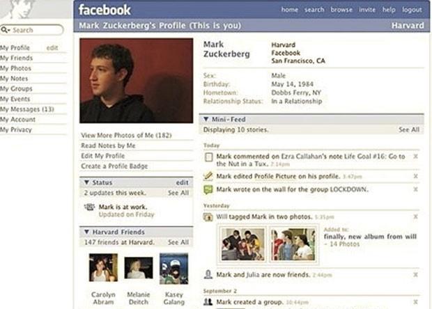 Visual do Facebook em 2006 (Foto: Reprodução/Wayback Machine)
