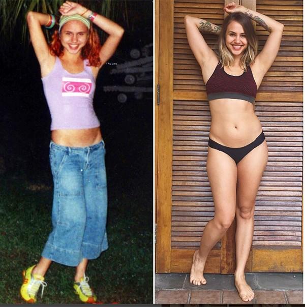Miriam Bottan durante e depois dos transtornos alimentares (Foto: Reprodução Instagram)