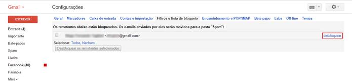 E-mails podem ser desbloqueados em conjunto (Foto: Reprodução/Gmail)
