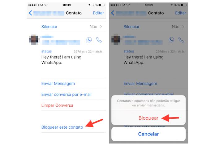 Bloqueando um contato no WhatsApp para iPhone (Foto: Reprodução/Marvin Costa)