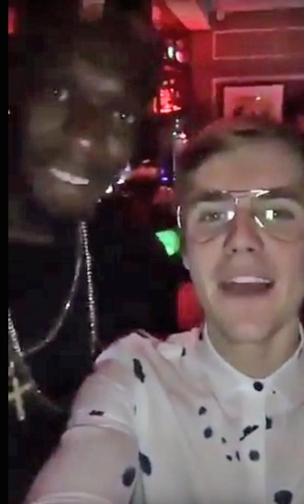 Usain Bolt e o cantor Justin Bieber (Foto: Snapchat)