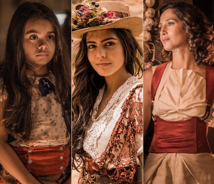 Maria Tereza é dividida por Isabella Aguiar na infância, Julia Dalavia na juventude e Camila Pitanga na fase adulta (Foto: Caiuá Franco/ Globo)