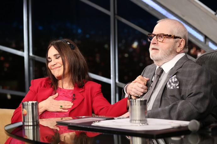 Reagina Duarte e Jô Soares trocaram elogios (Foto: Carol Caminha/Gshow)