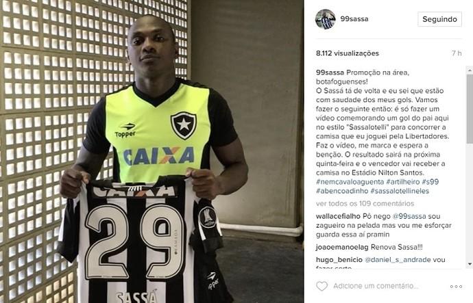 Sassá, Botafogo (Foto: Reprodução)