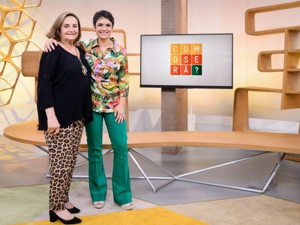 Sandra Annenberg recebe Lucinha Araújo, da Sociedade Viva Cazuza  (Foto: Globo/Ramón Vasconcelos)