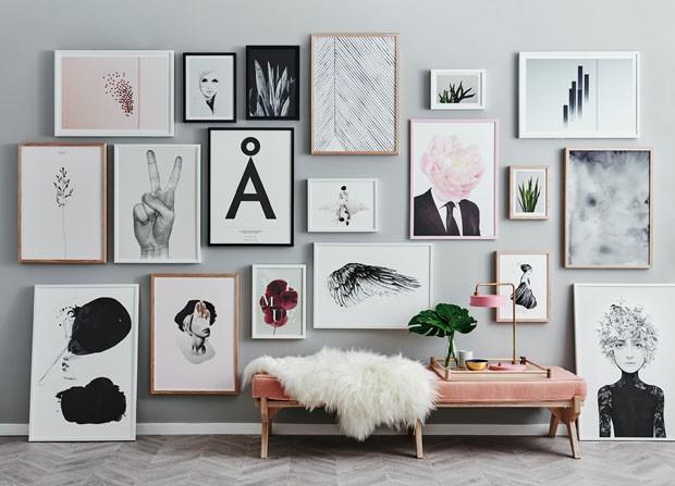 Décor do dia: mix de quadros na parede (Foto: Reprodução)