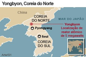 mapa península coreia do norte coreia do sul (Foto: Arte/G1)