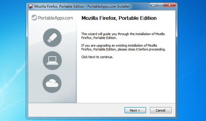 Assistente de instalação do Firefox Portable (Foto: Reprodução/Helito Bijora)