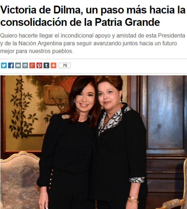 Cristina Kirchner publicou carta para Dilma após a confirmação da reeleição da colega brasileira (Foto: Reprodução/CFKargentina.com)