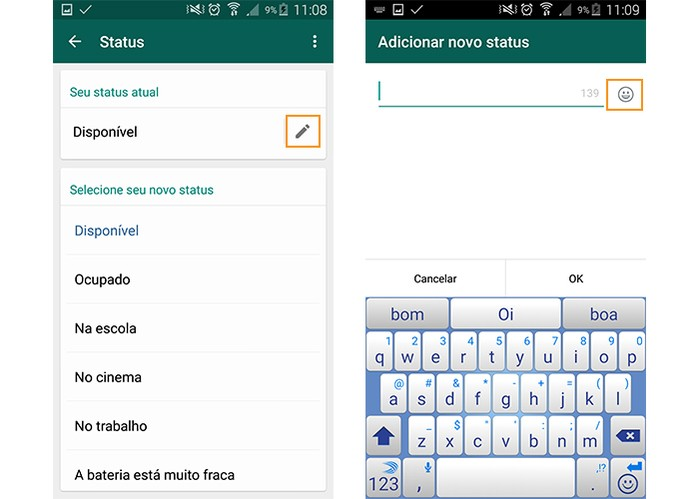 Aprenda A Usar Emoticons No Status Do Whatsapp Do Android