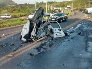 Acidente com ambulância na Serra, espírito Santo (Foto: Tiago Félix/ TV Gazeta)