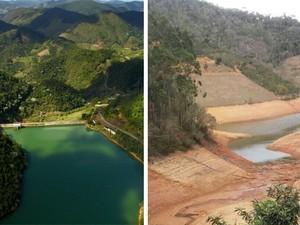 Montagem mostra antes e depois da barragem (Foto: Foto Leitor/ A Gazeta)
