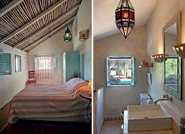 Simplicidade a toda prova no quarto, com armário pintado na mesma cor da janela – azul português. Luminárias marroquinas adornam o forro e as paredes. O toque de cor e de atualidade vem das cortinas e da roupa de cama da Área e da Designers Guild (Foto: Casa e Jardim)