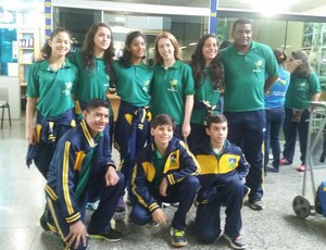 Equipe de natação de Rondônia que disputa os Jogos Escolares da Juventude, fase infantil (Foto: Eliane Campos/Arquivo Pessol)