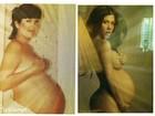 Grávida, Kourtney Kardashian imita foto nua da mãe
