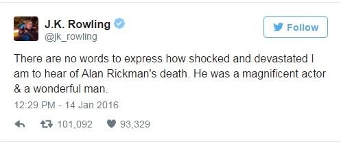 Rowling lamentou a morte de Rickman (Foto: Divulgação)