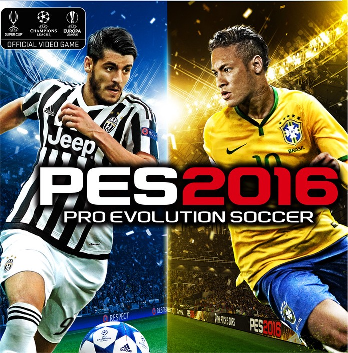 Espanhol Alvaro Morata e Neymar dividem a capa da versão internacional de PES 2016 (Foto: Divulgação/Konami)