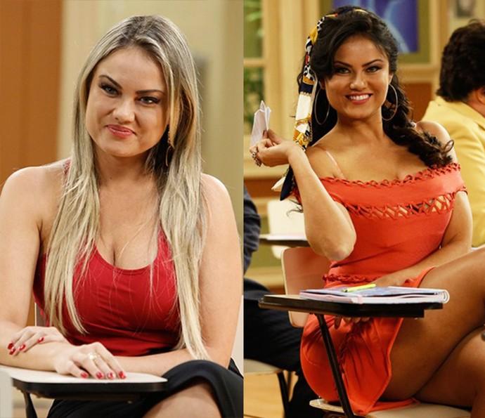 Ellen com o característico cabelo loiro, e, ao lado, morena com caracterização da Capitu, seu papel na Escolinha (Foto: Raphael Dias/Gshow)