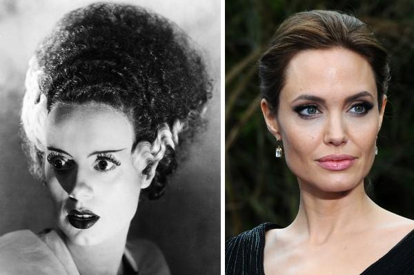 A atriz Elsa Lanchester no clássico A Noiva de Frankstein (1935) e a atriz Angelina Jolie (Foto: Reprodução/Getty Images)