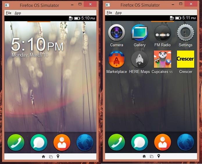 Firefox OS Simulator é igual a um smartphone (Foto: Reprodução/Thiago Barros)