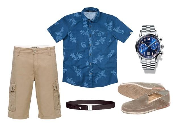 Bermuda Damyller R$269| Camisa Enfim R$199,99 | Cinto Hermès preço sob consulta | Relógio Tiffany & Co. R$36.025| Espadrilles Ermenegildo Zegna preço sob consulta (Foto: Divulgação)
