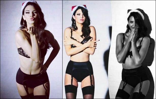 Falando em modelos... Kendall Jenner, irmã mais nova da socialite Kim Kardashian, também fez o tipo sexy/natalino em um novo ensaio para a revista 'LOVE' em dezembro de 2014. (Foto: Instagram)