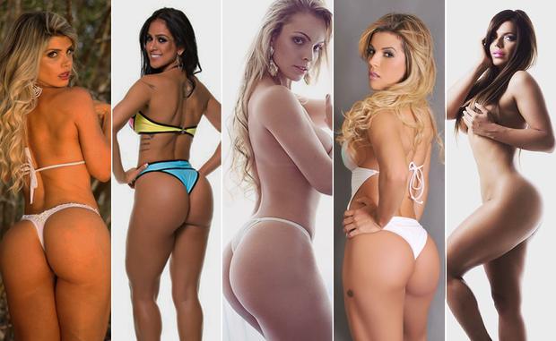 Carine Felizardo, Dai Macedo, Indianara Carvalho, Rosana Ferreira e Suzy Cortez  Miss Bumbum (Foto: Cacau Oliver/Davi Borges/Divulgação)