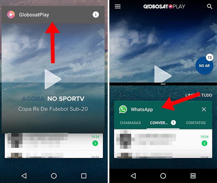 Arraste um app para a parte superior e outro para a inferior (Foto: Reprodução/Paulo Alves)