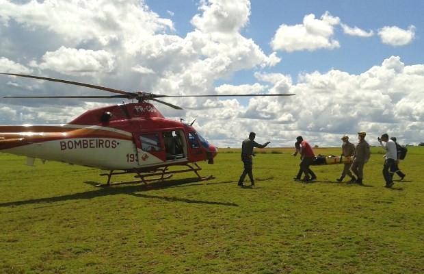 Homem fica ferido ao cair de parapente em Terezópolis de Goiás (Foto: Divulgação/ Corpo de Bombeiros)