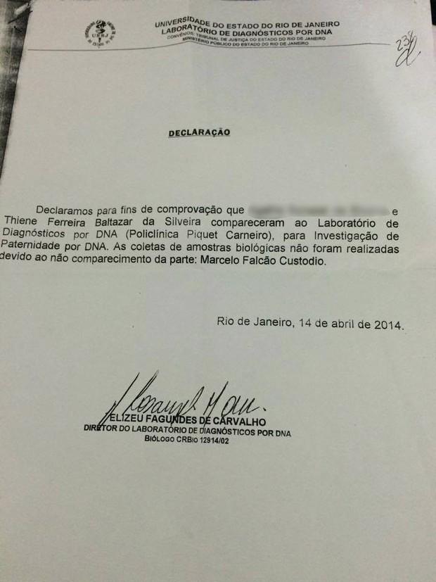 Declaração de paternidade de Marcelo Falcão (Foto: EGO)